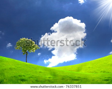 meadows landscape with clouds on the sky