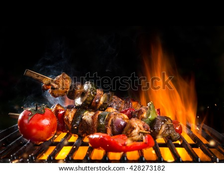 Meal skewer on grill with fire, isolated on black background - stock photo