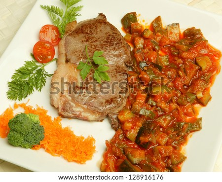 meal with meat and ratatouille