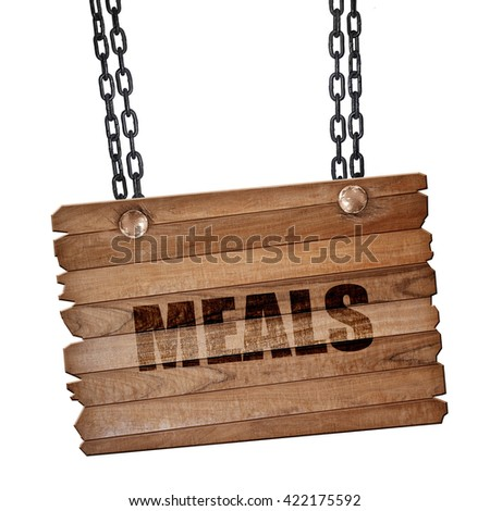 meals, 3D rendering, wooden board on a grunge chain