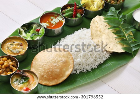 meals served on banana leaf, traditional south indian cuisine