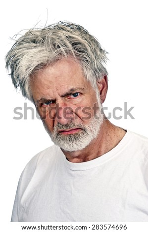 Mean, grumpy old man with hateful expression/ Portrait Of Serious Mean Old Man