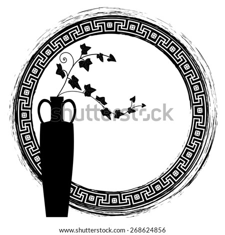 meander  frame with branches of ivy in black and white colors - stock photo