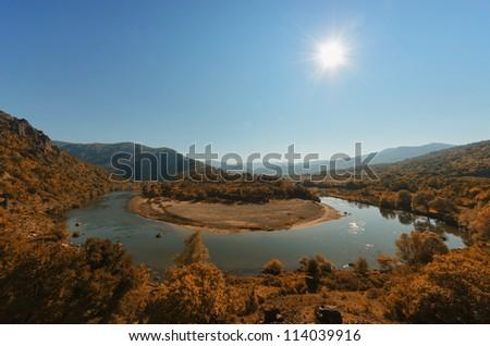 Meander of river Arda - stock photo