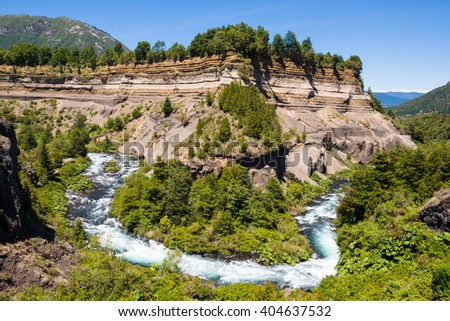 Meander of Truful-Truful river, Chile  - stock photo