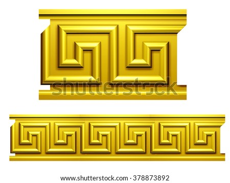 Meander Ornament Relief in Gold - stock photo