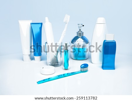 Means for care of teeth. - stock photo