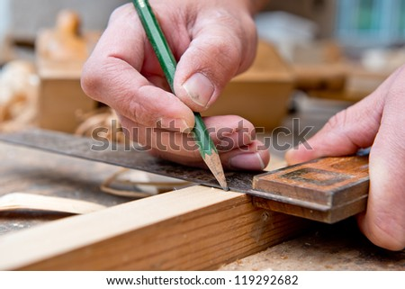 Measure and pencil - stock photo