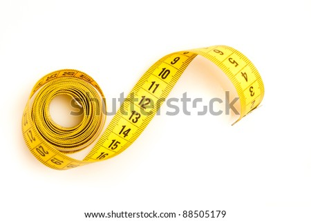 Measure tape. Isolated over white. - stock photo