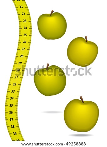 Measure tape with appels. Healthcare concept. - stock photo