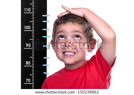measured child on white background - stock photo