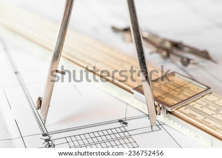 Measurement of the size of the drawing. Angle view - stock photo