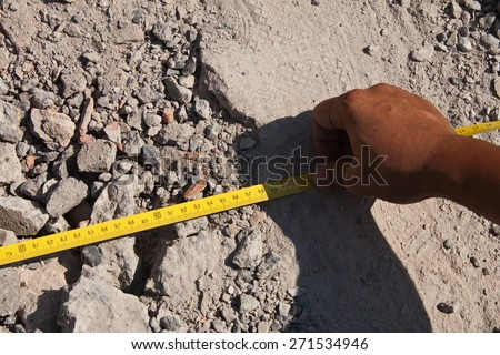 measurement test by tape : construction analysis test work - stock photo