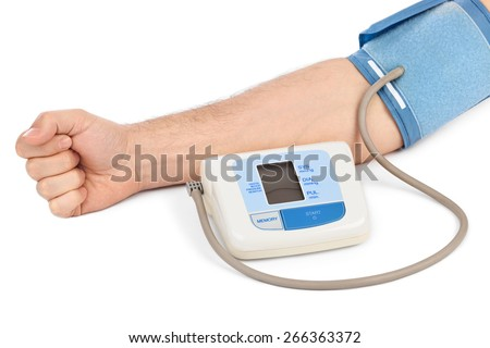 Measuring blood pressure isolated on white background - stock photo