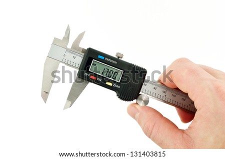 measuring callipers in hand ready