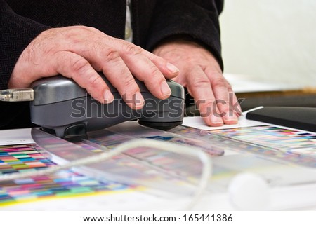 Measuring Color Swatches With Spectrometer - stock photo