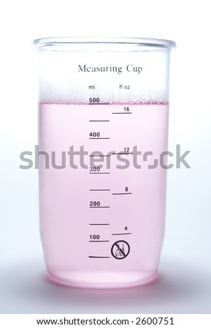 Measuring cup with liquid on white  background