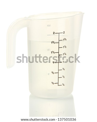 Measuring cup with water isolated on white - stock photo
