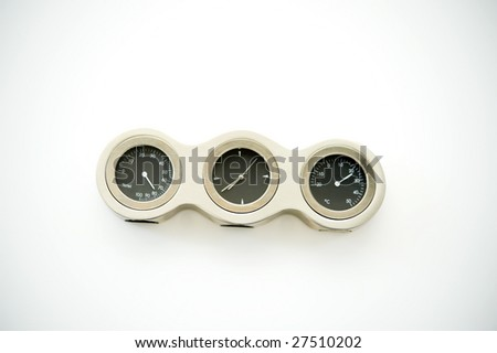 measuring equipment with clock, barometer and humidity - stock photo
