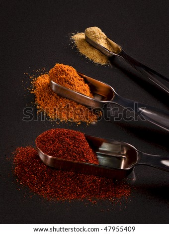 Measuring Indian Spices - stock photo