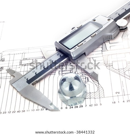 Measuring metal nut - stock photo