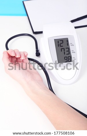 Measuring  pressure of  patient in hospital close-up