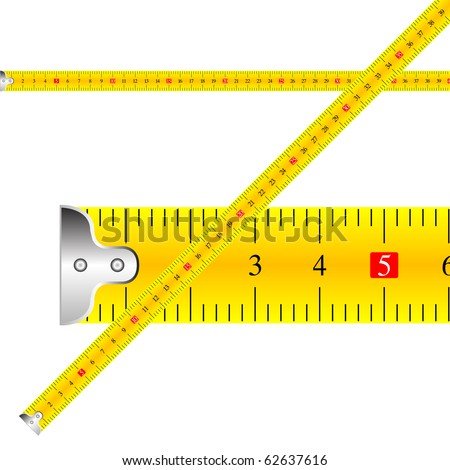 measuring tape against white background, abstract art illustration; for vector format please visit my gallery - stock photo