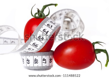 Measuring tape and a fork with tomato isolated on white background, concept of healthy food and diet