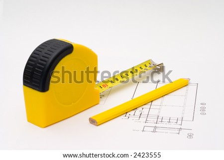 Measuring tape for any unfinished project - stock photo