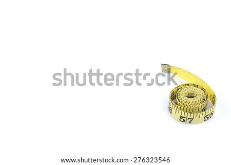 Measuring tape for control your waist isolated on white background - stock photo
