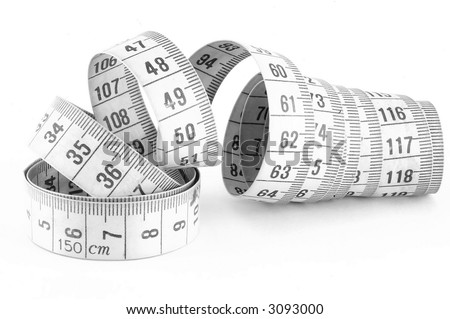 Measuring Tape Isolated On White - stock photo