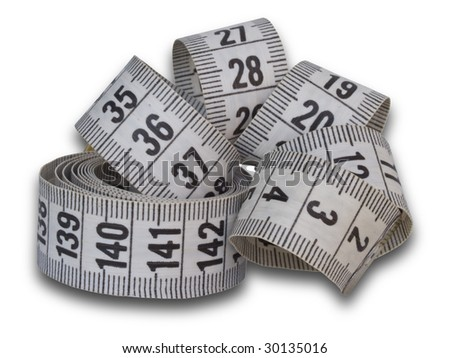 measuring tape, isolated on white and curved