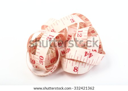 Measuring tape isolated on white background with area for text