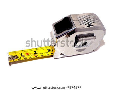Measuring tape isolation on white - stock photo