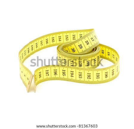 Measuring tape looking as heart isolated over white background - stock photo