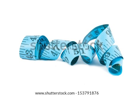 Measuring tape of the tailor isolated on white background