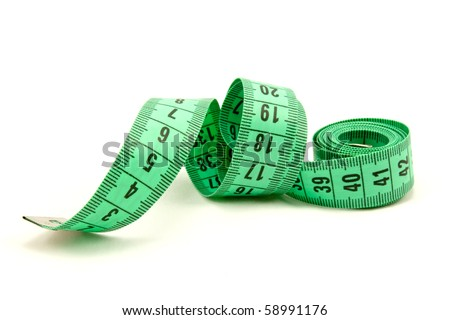 Measuring tape of the tailor ,  on white background - stock photo