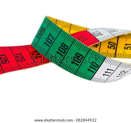 measuring tape on white background isolated - stock photo