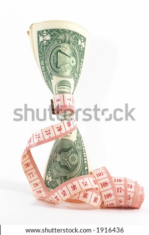 Measuring tape over money, budgeting, measure money, tight budget. Money upright. Could also signify expensive slimming treatment. - stock photo