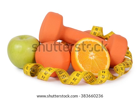 Measuring tape with dumbbells isolated on white