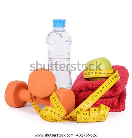 Measuring tape with dumbbells isolated on white  - stock photo