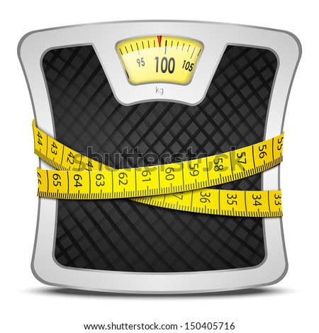 Measuring tape wrapped around bathroom scales. Concept of weight loss, diet, healthy lifestyle.  - stock photo