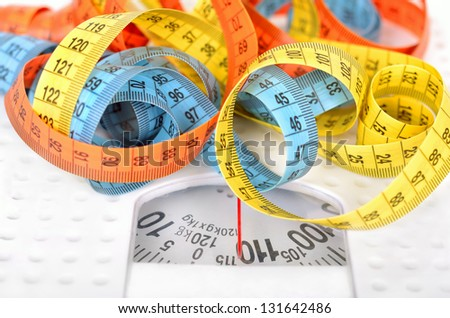 Measuring tapes on scales - stock photo