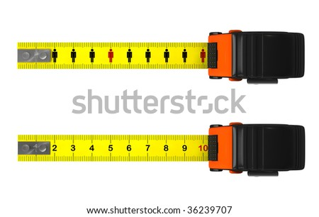 Measuring tapes with clipping paths - stock photo
