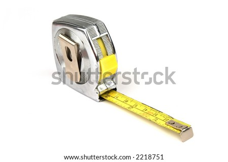 Measuring yellow tape tool over white background - stock photo