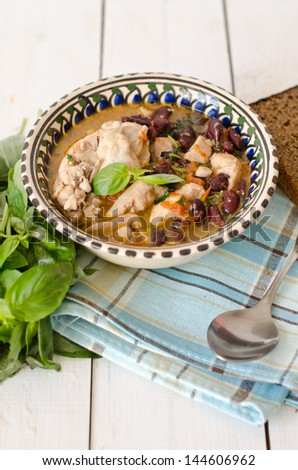 Meat and beans - stock photo