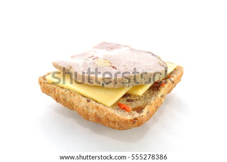 Meat and cheese sandwich on a white background