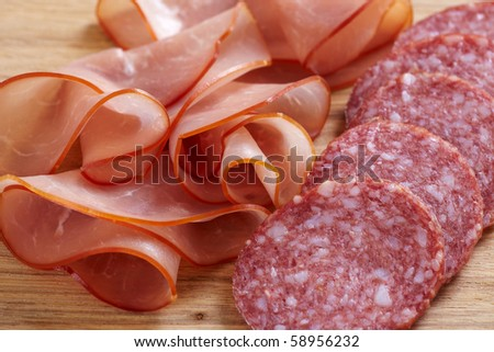 meat and sausage - stock photo