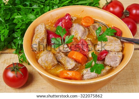 Meat and vegetable stew - stock photo