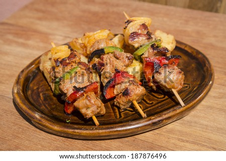 meat and vegetables brochettes - stock photo